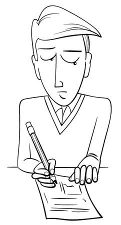 black and white cartoon illustration of teenage boy student doing