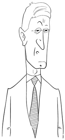 bossy: Black and White Cartoon Illustration of Politician or Businessman Character Illustration