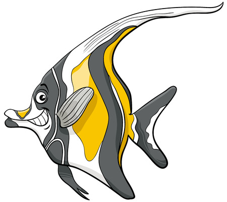 Cartoon Illustration of Moorish Idol Fish Sea Life Animal Character