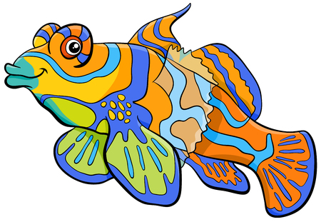 Cartoon Illustration of Mandarin Fish Sea Life Animal Character