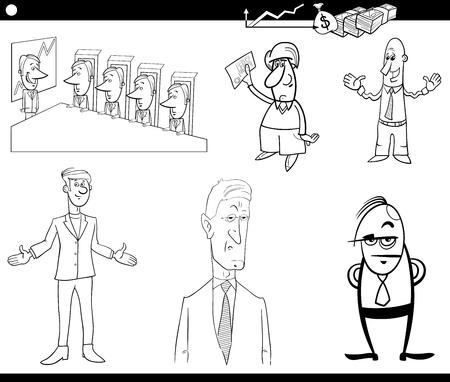 business concepts: Black and White Cartoon Illustration Set of Businessman Characters and Business Concepts Illustration