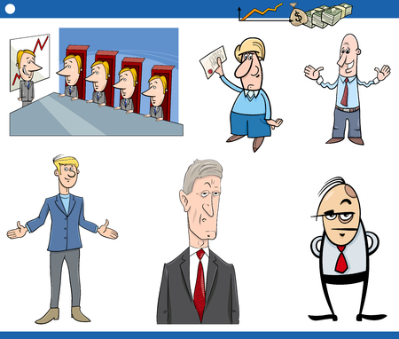 supervisory: Cartoon Illustration Set of Businessman Characters and Business Concepts
