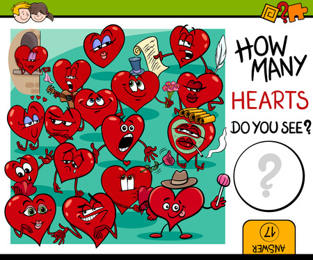 guess: Cartoon Illustration of Educational Counting Activity for Children with Hearts in Love Valentines Day Characters Illustration