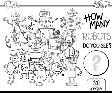 quantity: Black and White Cartoon Illustration of Educational Counting Activity for Children with Robot Characters Coloring Page