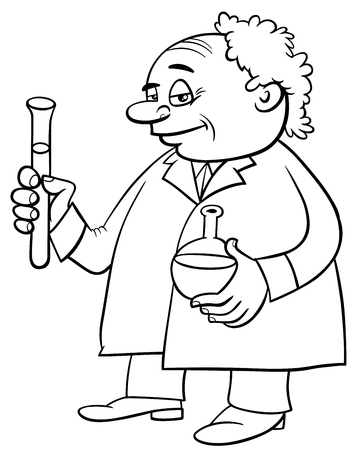 vials: Black and White Cartoon Illustration of Scientist Character with Liquids in Vials Coloring Page Illustration