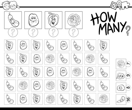 Black and White Cartoon Illustration of Educational How Many Counting Activity for Children with Vegetable Characters Coloring Page Illustration