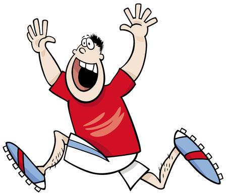 funny people: Cartoon Illustrations of Runner Sportsman or Athlete Winning the Race