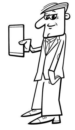 smart man: Black and White Cartoon Illustration of Man with Tablet or Smart Phone Phablet Illustration