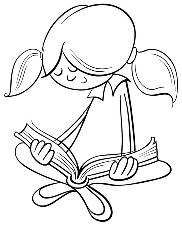 drawing cartoon black and white cartoon illustration of cute little girl character reading a book - Taser Gun Cartoon Coloring Pages