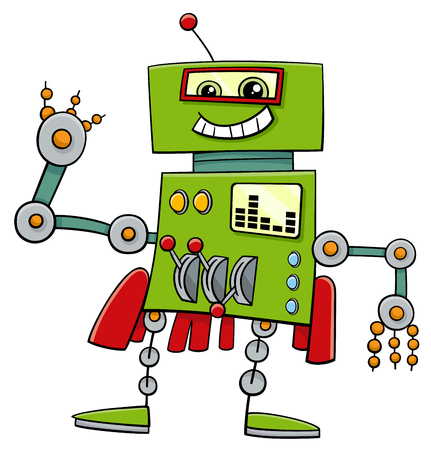 metal drawing: Cartoon Illustration of Robot Science Fiction or Fantasy Comic Character