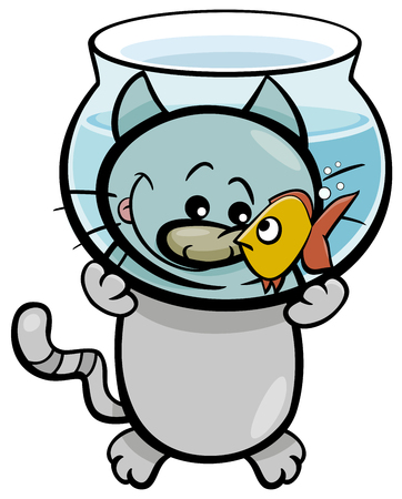 Cartoon Illustration of Hungry Cat and Goldfish in Fish Tank