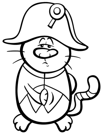 master page: Black and White Cartoon Illustration of Emperor Cat in Napoleon Costume Coloring Page