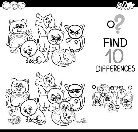 Ilustración De Dibujos Animados En Blanco Y Negro De Encontrar ...