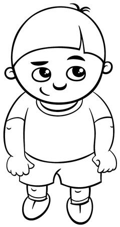 school boy: Black and White Cartoon Illustration of Elementary School Age or Preschool Boy Coloring Page