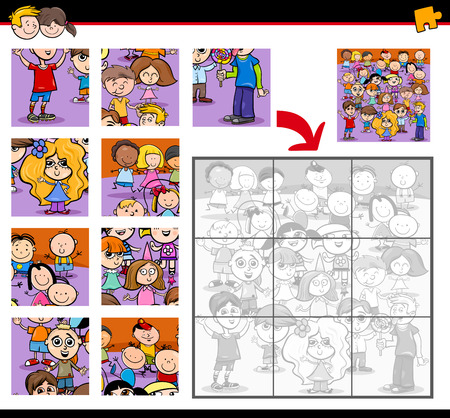preschool children: Cartoon Illustration of Education Jigsaw Puzzle Activity for Children with Children Characters