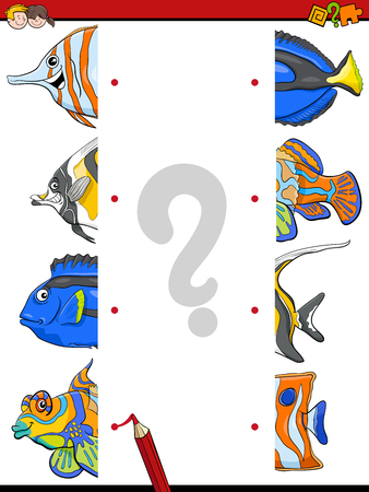fish animal: Cartoon Illustration of Educational Game of Matching Halves with Fish Animal Characters
