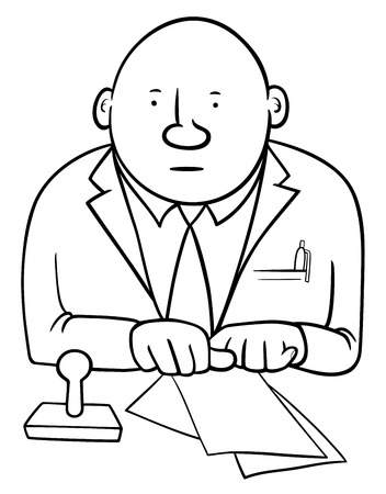 functionary: Black and White Cartoon Illustration of Official or Clerk Character with Documents and Stamp Illustration