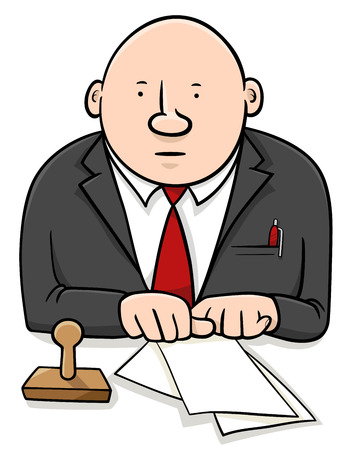 functionary: Cartoon Illustration of Official or Clerk Character with Documents and Stamp