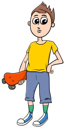 teen boy: Cartoon Illustration of Teen Boy with Skateboard