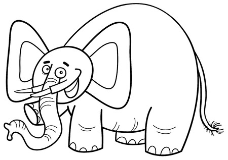 animal ear: Black and White Cartoon Illustration of Elephant Animal Character Coloring Page Illustration