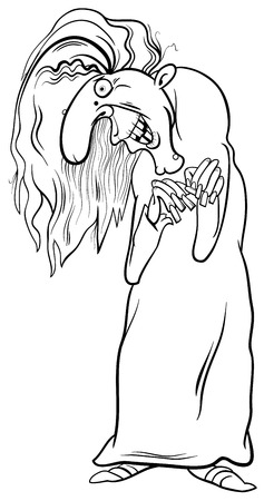 harridan: Black and White Cartoon Illustration of Witch Fantasy or Fairy Tale Character Coloring Page