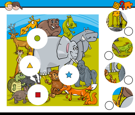 pastimes: Cartoon illustration activity for kids with wild animal characters. Illustration