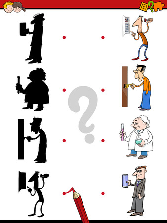 shadow people: Cartoon Illustration of Find the Shadow Educational Activity Game for Children with People Characters