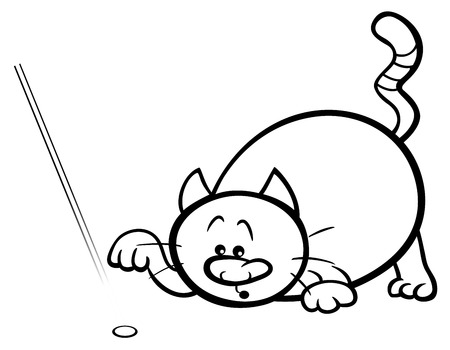 #71739081   Black And White Cartoon Illustration Of Cat Playing With Laser Pointer  Coloring Page