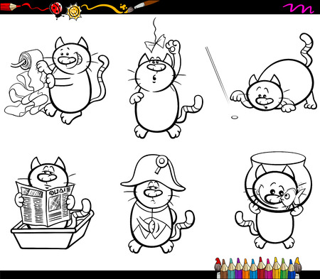 napoleon fish: Black and White Cartoon Illustration Cats Animal Characters Humorous Set Coloring Page