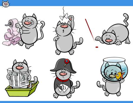 mischief: Cartoon Illustration of Cats Animal Characters Humorous Set
