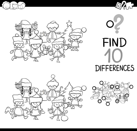 Black and White Cartoon Illustration of Finding Differences Educational Game for Children with Christmas Characters Coloring Book
