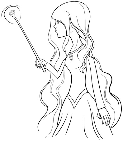 bewitch: Black and White Cartoon Illustration of Witch Woman Fantasy Character Coloring Page