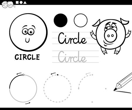 Ilustración De Dibujos Animados Educativo Blanco Y Negro De Forma ...