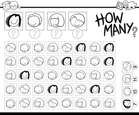 number of people: Black and White Cartoon Illustration of Educational Counting Activity for Children with Kid Characters Coloring Page