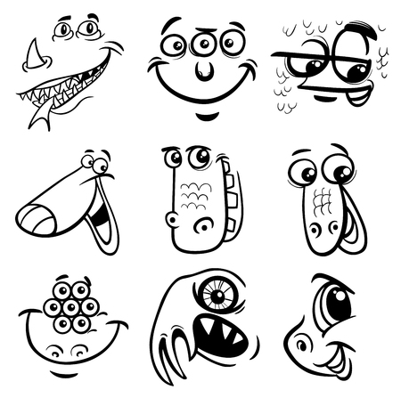 bogie: Black and White Cartoon Illustration of Monster Fictional Characters Faces Set Coloring Page