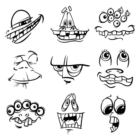 bogie: Black and White Cartoon Illustration of Fantasy Monster Characters Faces Set Coloring Page