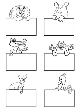 cartoon banner: Black and White Cartoon Illustration of Animals with White Greeting or Business Card Design Set Illustration