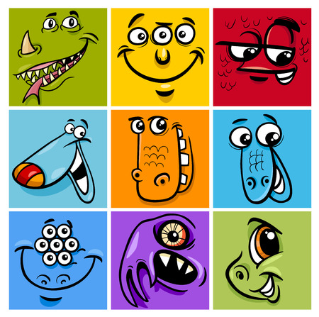 bogie: Cartoon Illustration of Monster Fictional Characters Faces Set
