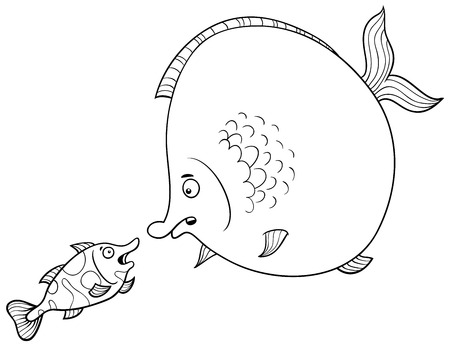 fish animal: Black and White Cartoon Illustration of Big Fish and Small Fish Animal Characters Talking Coloring Page