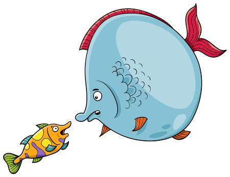 Cartoon Illustration of Big Fish and Small Fish Animal Characters Talking Ilustração
