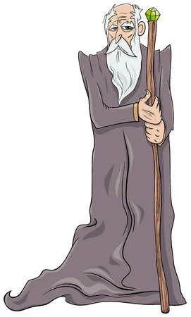 Cartoon illustration of Old Wizard Fantasy Character with Magic Staff