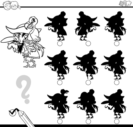 proper: Black and White Cartoon Illustration of Find the Shadow without Differences Educational Activity for Children with Pirate Character Coloring Page Illustration