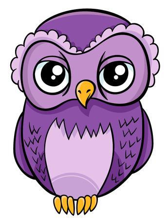 Cartoon Illustration of Owl Bird Animal Character
