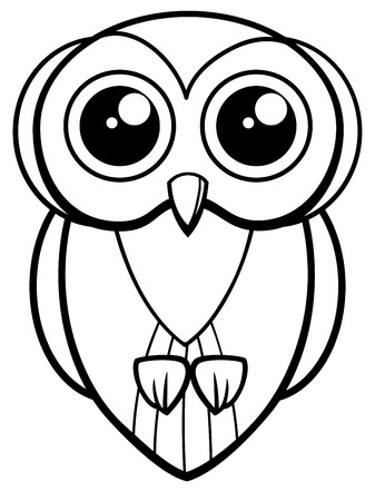 Black And White Cartoon Illustration Of Cute Owl Bird Animal