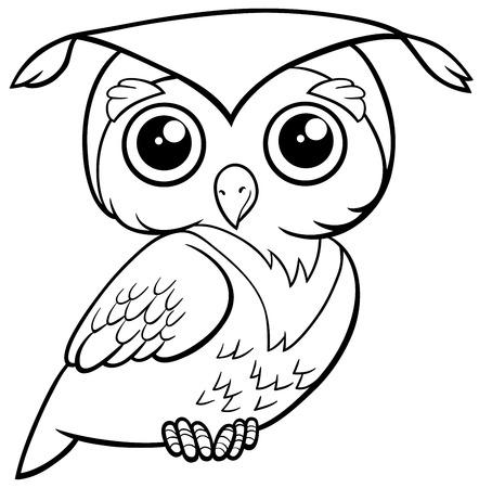 Schwarz-Weiß-Karikatur Illustration Der Niedlichen Eule Vogel Tier ...