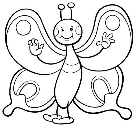 Página Para Colorear Ilustración De La Mariposa De Dibujos Animados ...