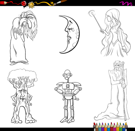 harridan: Black and White Cartoon Illustration of Fantasy Characters Set Coloring Page