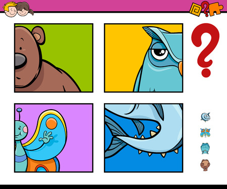 guess: Cartoon Illustration of Educational Game of Guessing Animals for Preschool Kids Illustration