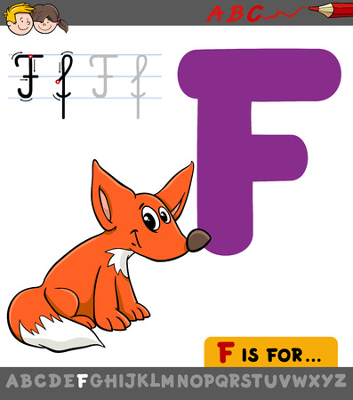 Educational Cartoon Illustration of Letter F from Alphabet with Fox Animal Character for Children
