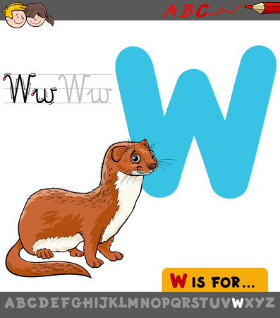 Educational Cartoon Illustration of Letter W from Alphabet with Weasel Animal Character for Children